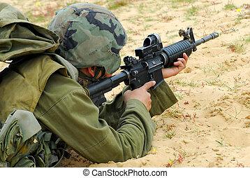 m16 żołnierz, izrael, armia, karabin