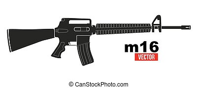 M16 rifle in flat silhouette style. Vector Illustration...