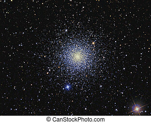 M3 Globular cluster imaged with a telescope and a scientific...