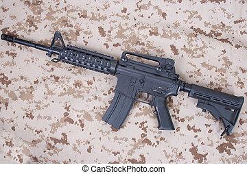 M4 carbine on us marines camouflage uniform