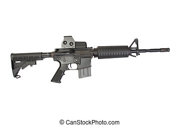 M4 carbine with optical gunsight isolated on a white background