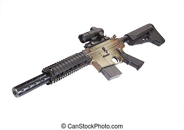 M4 CQB rifle isolated on a white background