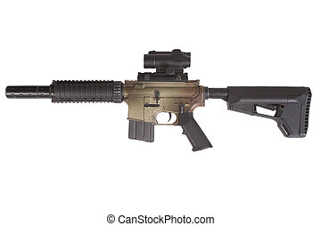 M4 CQB rifle with gunsight isolated on a white background