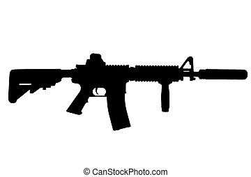 M4 with suppressor - special forces rifle black silhouette
