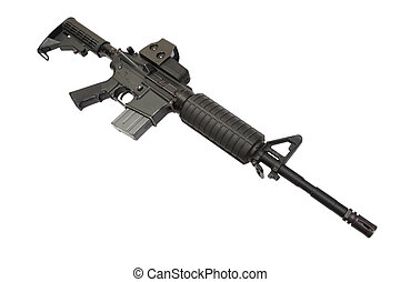 M4A1 carbine with optical gunsight isolated on a white background