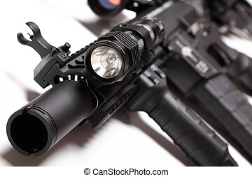 M4A1 carbine with tactical flashlight - M4A1 carbine with...