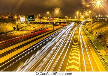m50, motorway, na, dublin, w, północ, kierunek