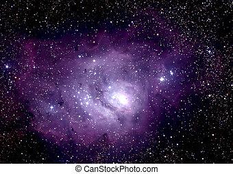 Nebula captured through telescope