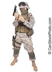m92, bennünket, katona, háttér, fehér, kézifegyver