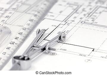 Maß, Werkzeuge, Auf, Grundriß, Hintergrund