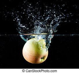 maçã, água, respingo
