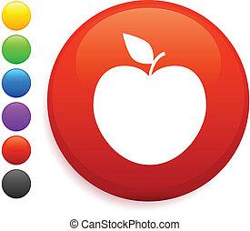 maçã, ícone, ligado, redondo, internet, botão