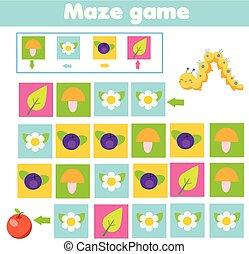 maçã, ajuda, navigation., game., lagarta, achar, labirinto, labirinto