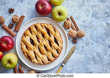 maçã, assado, torta, fresco, ingredientes, gostoso, caseiro,...