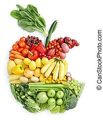 maçã, bite:, alimento saudável