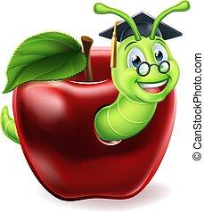 maçã, bookworm, caricatura
