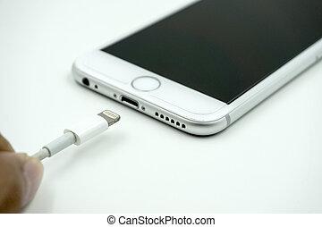 maçã, cabl, imagem, cima, 6s, iphone, fim, novo,...