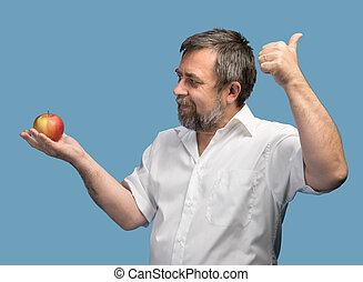 maçã, camisa, middle-aged, branco vermelho, homem