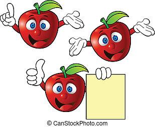 maçã, caricatura, personagem