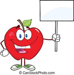 maçã, cima, sinal, segurando, em branco, feliz