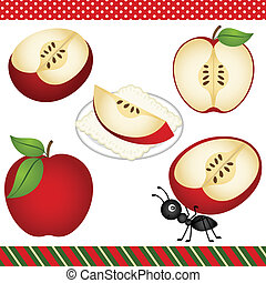 maçã, clipart, digital