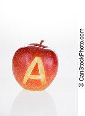 maçã, com, carta um