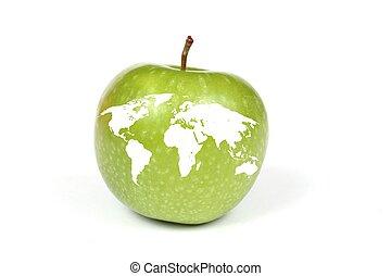maçã, com, mapa, de, terra, isolado, branco