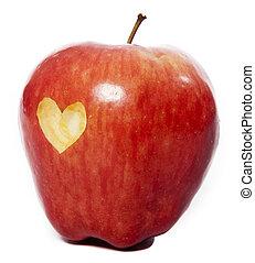 maçã, com, um, coração