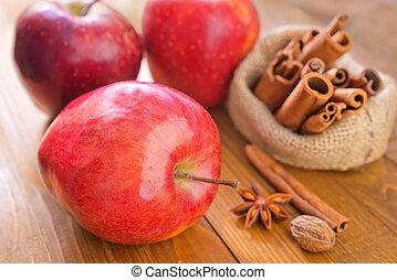 maçã, e, canela