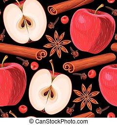 maçã, e, canela, seamless