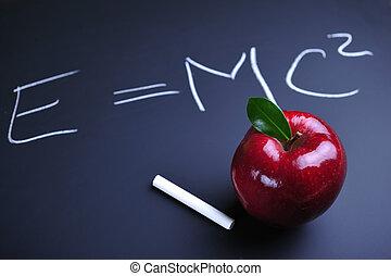 maçã, e, einstein, fórmula
