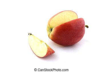 maçã, e, fatia