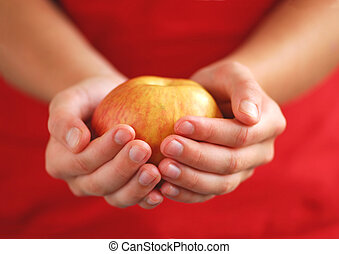 maçã, em, mãos