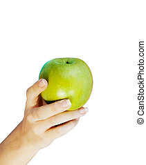maçã, em, mulher, mãos