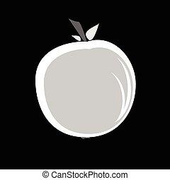 maçã, em, preto branco, cor, vetorial