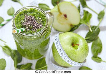 maçã, espinafre, smoothie, vidro, fundo, madeira