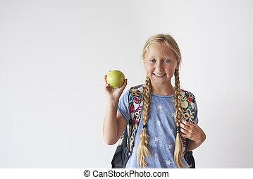 maçã, estudante, cima, segurando, menina, cintura