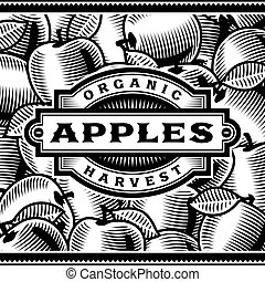 maçã, etiqueta, pretas, retro, branca, colheita
