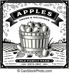 maçã, etiqueta, pretas, retro, branca, colheita, paisagem