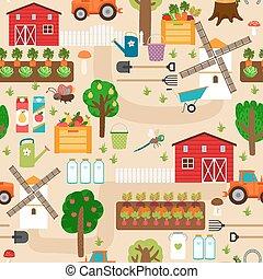 maçã, fazenda, padrão, árvores, seamless, camas, moinho, trator