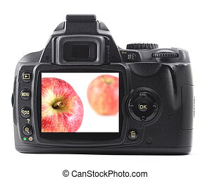 maçã, fruta, em, câmera digital
