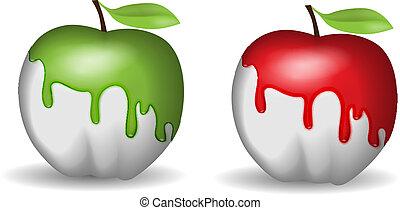 maçã, half-painted
