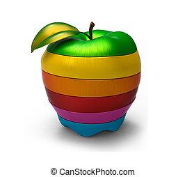 maçã, isolado, cortado, experiência., cores, misturado, branca