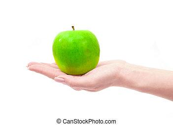 maçã, mão