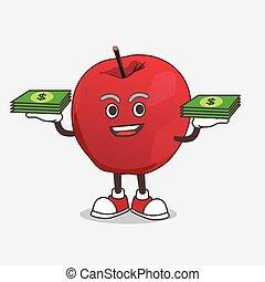maçã, mascote, dinheiro, personagem, mãos, caricatura