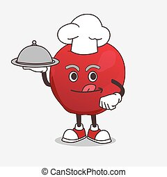 maçã, mascote, personagem, alimento, cozinheiro, caricatura, saque, pronto, bandeja