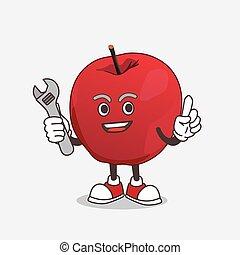 maçã, mascote, personagem, feliz, caricatura, mecânico