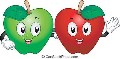 maçã, mascotes