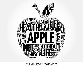 maçã, palavra, nuvem