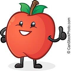 maçã, personagem, cima, polegares, caricatura